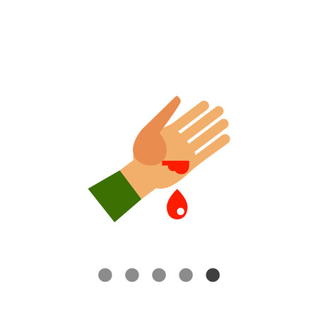 wounded: Multicolored vector icon of wounded human palm and blood drop