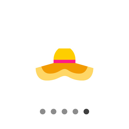 Womens summer hat icon. Multicolored vector illustration of wide-brimmed hat protecting from sun