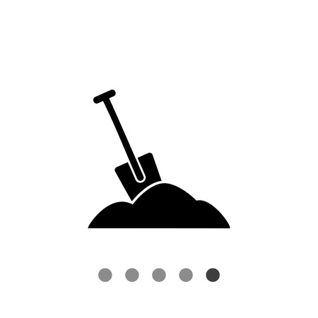 Monochrome vector icon of spade and pile of soil representing work concept