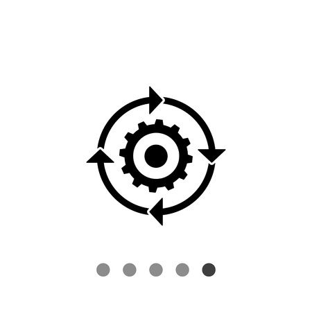 workflow: Vector icon of arrow circle with gear inside representing workflow