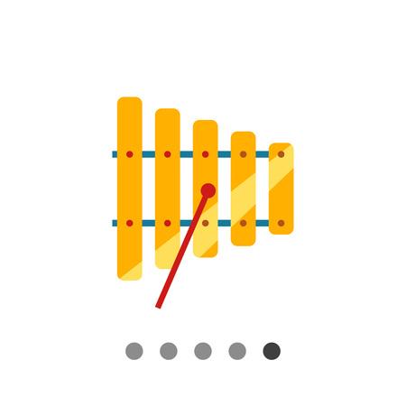 xilofono: Icono de xilófono con un mazo Vectores