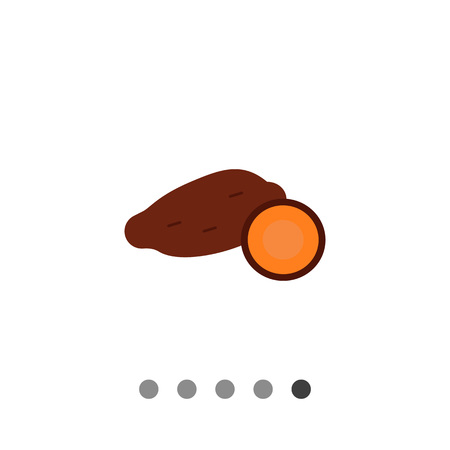 Vector icon of yam tuber and cut yam half