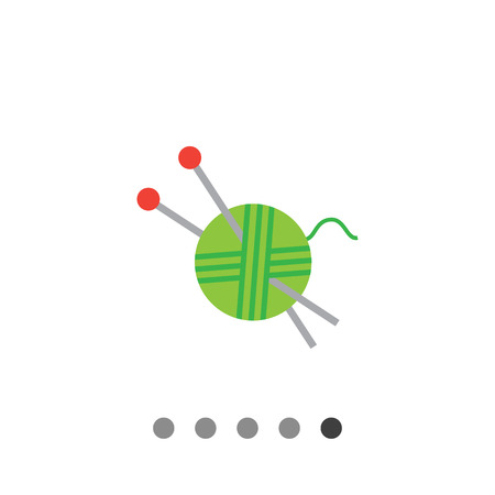 Icon of green yarn ball and knitting needles