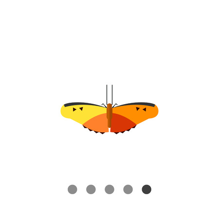feeler: Multicolored vector icon of yellow and orange butterfly with black stripes and spots