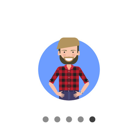 smiling young man: Male character, portrait of smiling young man with beard Illustration