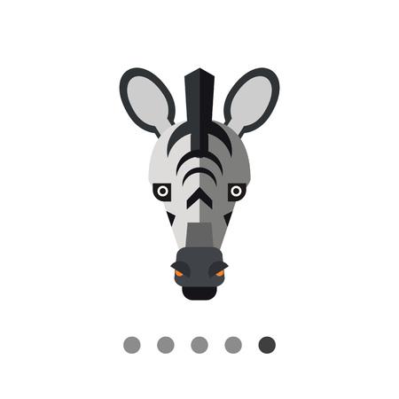 Multicolored vector icon of striped zebra head