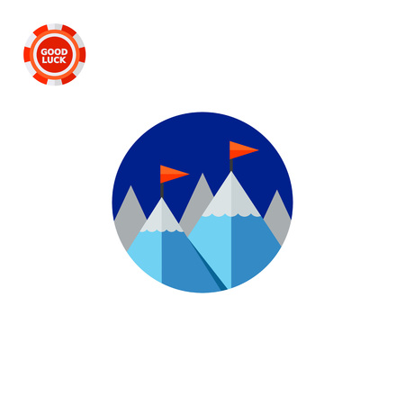rockclimbing: Mountain peaks with red flags. High, challenge, success. Achievement concept. Can be used for topics like business, management, finance, rock-climbing.
