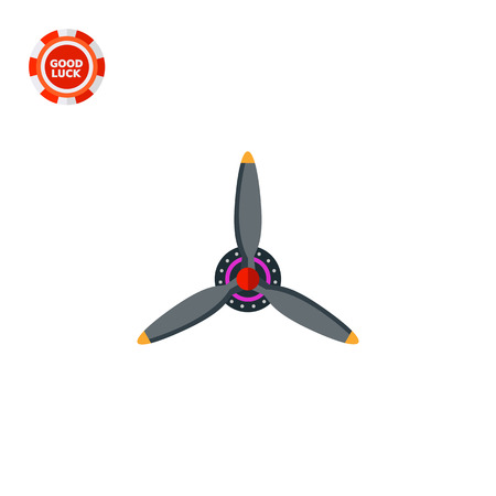 blades: Three blades airplane propeller. Engine, obsolete, flight. Airplane concept. Can be used for topics like aviation, transport, technology. Illustration
