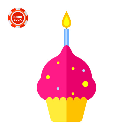 Anniversary cake with one burning candle. Celebration, fun, festive. Anniversary concept. Can be used for topics like cooking, holiday, food.