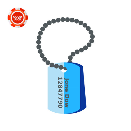 personal identification number: Military identification tag. Personal, war, information. Army identification tag concept. Can be used for topics like war, military accessories, arming.