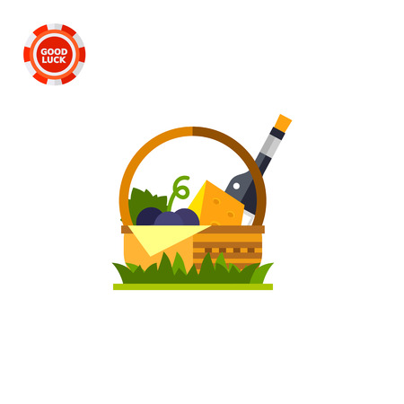 wine and cheese: Wicker basket with wine, cheese and bunch of grapes. Picnic, nature, lunch. Wine concept. Can be used for topics like lifestyle, food, spirits.