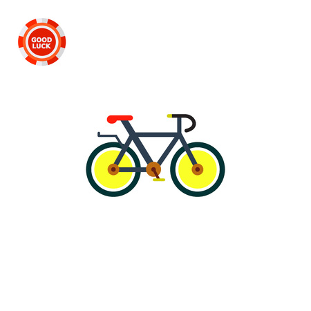 the topics: Bicycle with yellow wheels and red sit. Cycling, fun, race. Bicycle concept. Can be used for topics like sport, health, cycle racing.