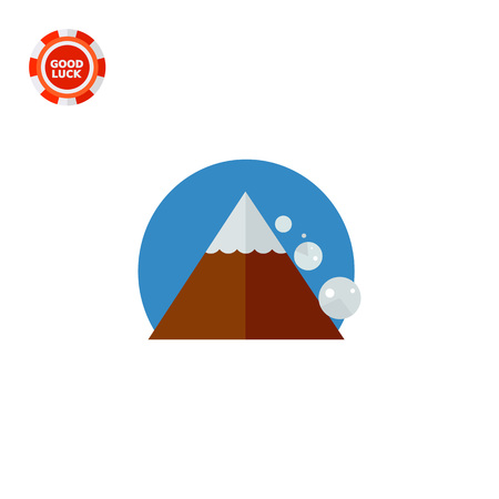 snow mountain: Avalanche Down Mountain Side. Peak, danger, snow. Mountain concept. Can be used for topics like geology, geography, business. Illustration