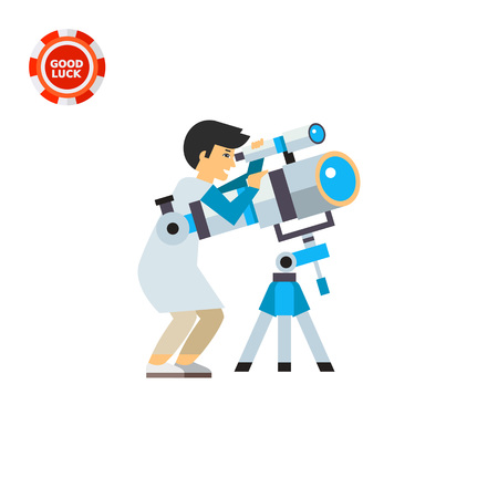 magnification: Astronomer using telescope. Scientist, magnification, exploration. Space concept. Can be used for topics like astronomy, physics, science. Illustration