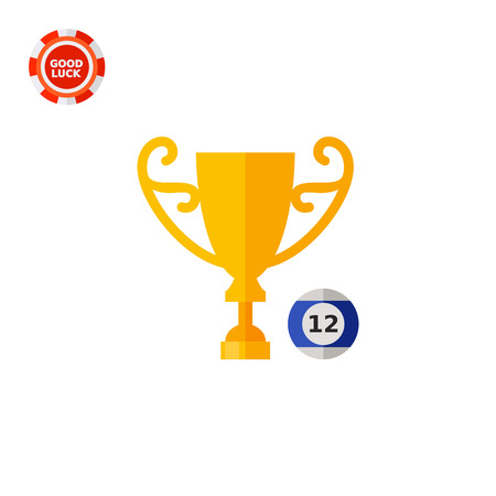 Billiard ball and cup. Game, competition, award. Billiard championship concept. Can be used for topics like billiard, sport, recreation services.