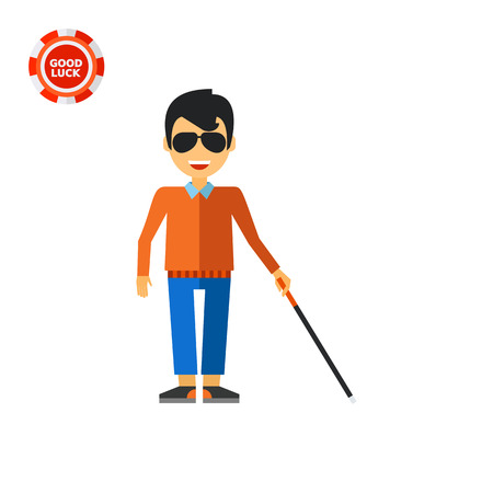 incapacitated: Blind man holding cane. Disability, disease, help. Blindness concept. Can be used for topics like disability, charity, medicine.