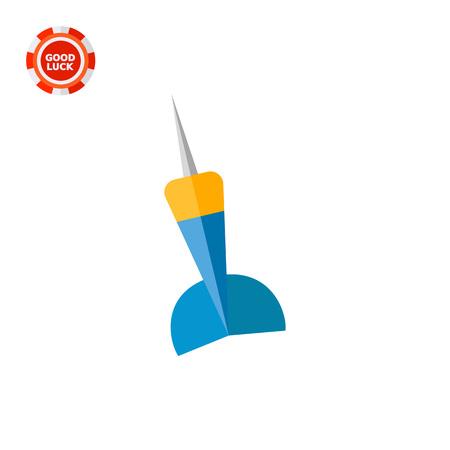 lanzamiento de jabalina: Dardo azul y amarillo. Lanzar, juego, diversión. concepto de dardos. Puede ser utilizado para temas como el deporte, la salud, los dardos. Vectores