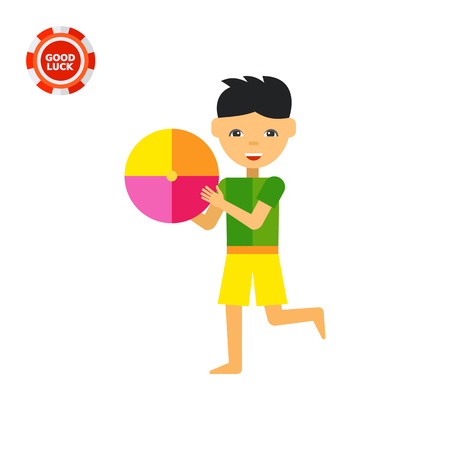 Smiling boy playing with big colorful ball. Beach, fun, summer. Children concept. Can be used for topics like childhood, health, parenting, games.