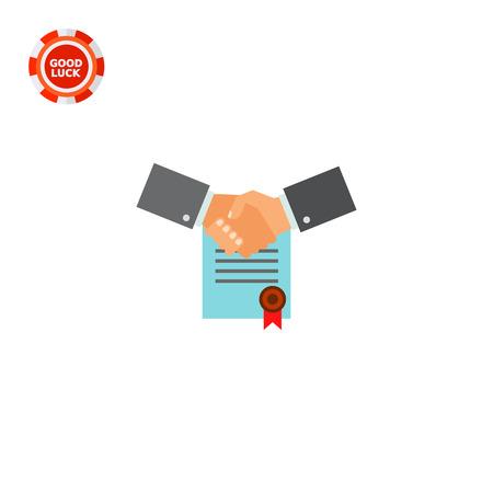 Dos sacudiendo las manos del hombre con el contrato firmado con el sello rojo en el fondo. Acuerdo, compañía, sociedad. concepto consolidación de negocios. Puede ser utilizado para temas como negocios, administración, finanzas.