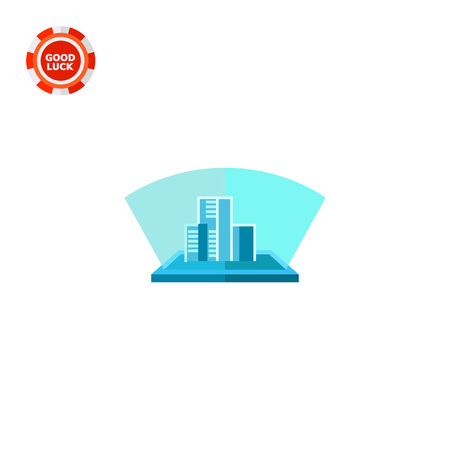 holography: Blue hologram, three-dimensional model of buildings. Future, innovation, improvement. Hologram concept. Can be used for topics like technology, electronics, science, construction.