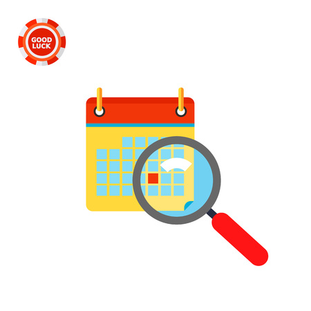 event planning: Calendar and magnifying glass in front. Deadline, event, Friday. Calendar concept. Can be used for topics like planning, business, management.