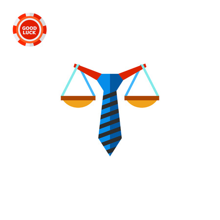 concluding: Illustration of stylized scales balancing on tie. Business law, commercial law, concluding contract. Business law concept. Can be used for topics like business law, contract, business