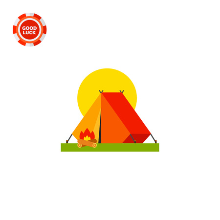 Tent and campfire illustration. Camping tent, tourism, leisure activity. Camping concept. Can be used for topics like tourism, camping, vacation, summer
