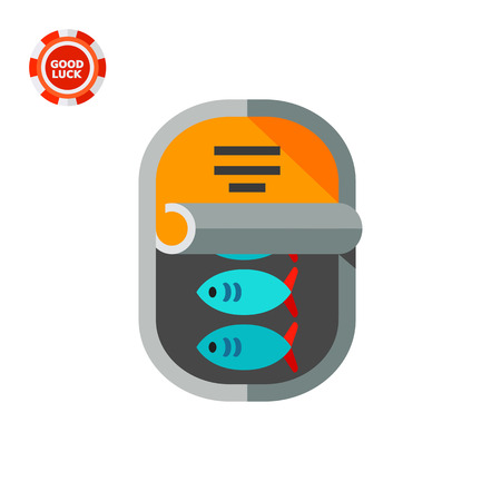 tinned: Canned fish in half opened can. Tasty, storage, snack. Canned food concept. Can be used for topics like fishing, food industry, cooking. Illustration