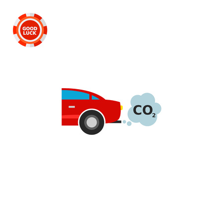 Illustration of car emitting carbon dioxide. Emission, smoke cloud, pollution, environment. Pollution concept. Can be used for topics like air pollution, environment, transport, ecology