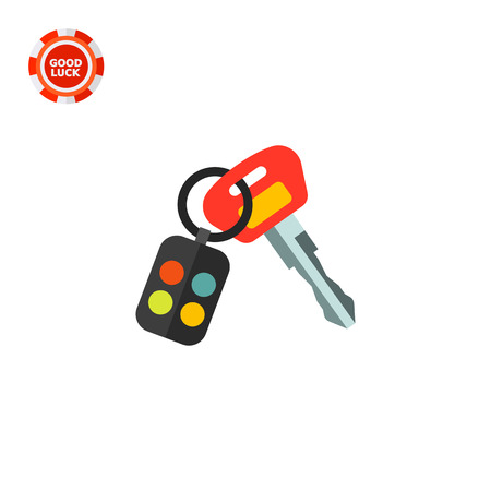 Key with remote control on ring. Protection, locking, car. Car key concept. Can be used for topics like transport, technology, marketing. Illustration