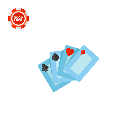 ace of hearts: Four playing cards for casino. Club, luck, game. Casino concept. Can be used for topics like gambling, poker, nightlife. Illustration