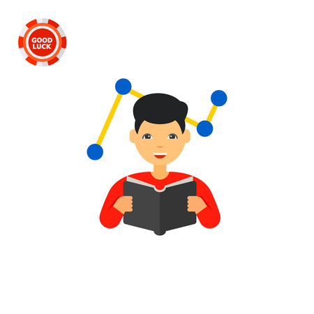 Man reading book with graph in background. Innovation, idea, smart. Changes adaptation concept. Can be used for topics like business, management, marketing. Illustration