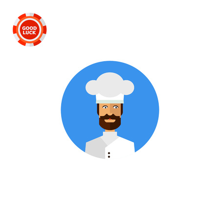 cook cap: Man with beard wearing cook cap. Kitchen, occupation, recipe. Restaurant concept. Can be used for topics like cooking, restaurant business, food. Illustration