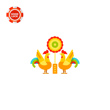chinese astrology: Two stylized roosters. Animal, forecast, oriental. Chinese zodiac concept. Can be used for topics like astrology, China, New Year. Illustration