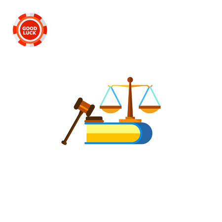 Illustration of scales, book and judge gavel. Civil rights, constitution, legislation. Civil rights concept. Can be used for topics like legislation, civil rights, law