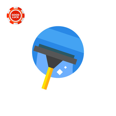 Cleaning glass with squeegee. Domestic, glass, tool. Cleaning concept. Can be used for topics like housekeeping, cleaning, marketing. Illustration