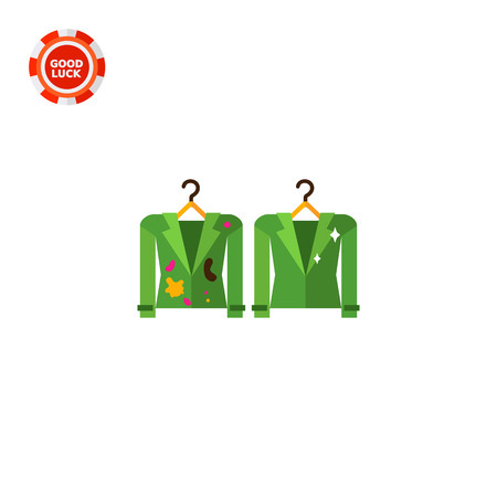 drycleaning: Dirty and clean jackets on hangers. Textile, stain, experiment. Washing concept. Can be used for topics like chemistry, housekeeping, fashion. Illustration