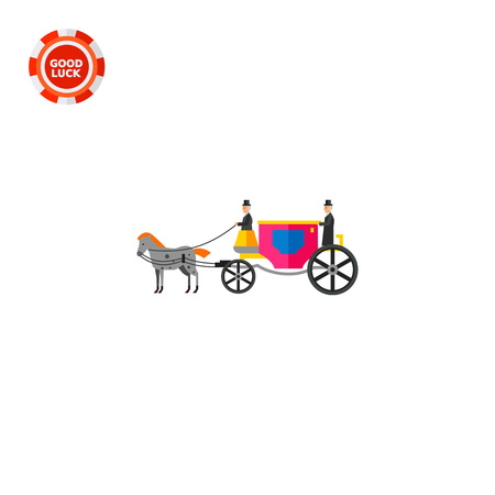 Coach with horse and coachmen. Riding, old, horse-drawn. Coach concept. Can be used for topics like England, history, transport.