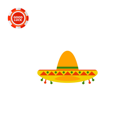 Colorful sombrero. Mexican, protection, broad-brimmed. Headwear concept. Can be used for topics like fashion, clothing, culture.