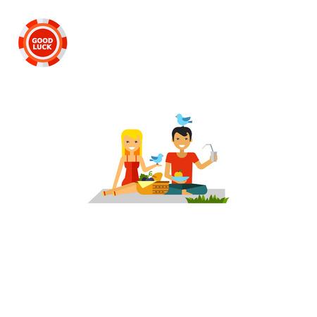 pareja comiendo: Mujer feliz y hombre en el día de campo. Naturaleza, comida, diversión. Concepto de picnic. Puede ser utilizado para temas como el verano, vacaciones, ocio.