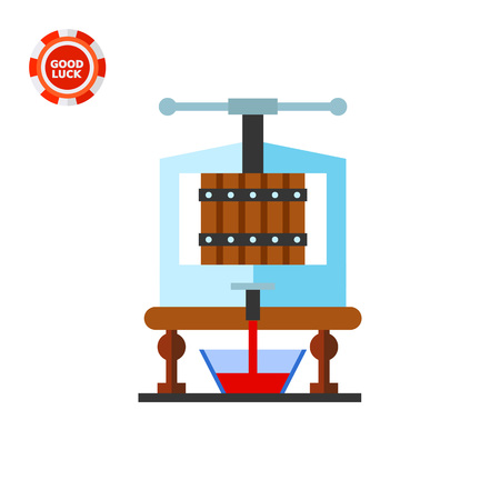 fermentation: Equipment extracting juice. Grapes, fermentation, drink. Wine concept. Can be used for topics like wine production, industry, spirits. Illustration