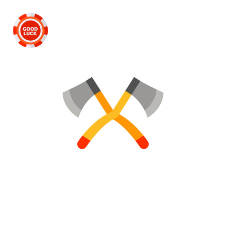 topics: Illustration of big crossed axes. Lumberjack, wood, instrument. Camping concept. Can be used for topics like work, camping, tourism, scouting Illustration