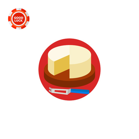 Cut camembert cheese wheel on board with knife. Delicious, dairy, cutting. Cheese concept. Can be used for topics like cooking, food industry, health.