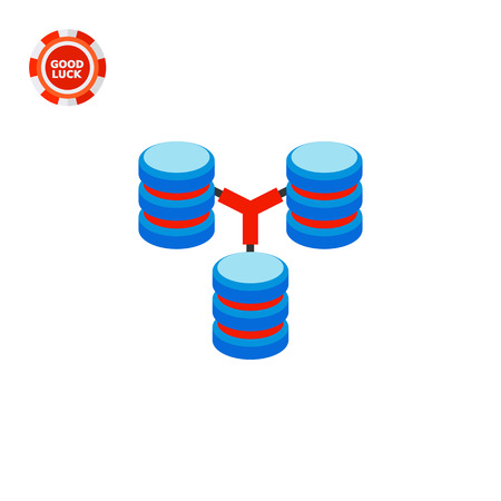 downloading content: Three connected stacks of discs. Digital, data, storage. Database concept. Can be used for topics like programming, Internet, technology.