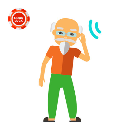 incapacitated: Deaf old man trying to hear sound. Disability, disease, aid. Deafness concept. Can be used for topics like disability, care, medicine. Illustration