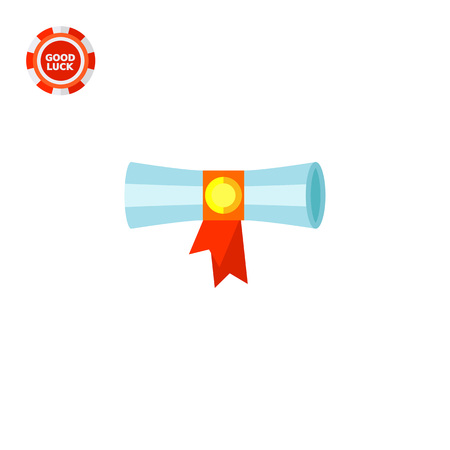 Diploma scroll banded with red ribbon. Learning, knowledge, graduation. Diploma concept. Can be used for topics like study, teaching, education. Illustration