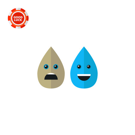 dirty water: Illustration of dirty and clean water drops. Cartoon characters, water pollution, dirty water. Water pollution concept. Can be used for topics like environment, water pollution, ecology