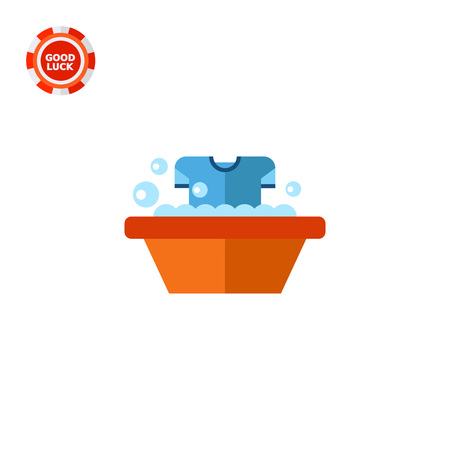 suds: Dirty t-shirt being washed in wash basin. Textile, suds, clean. Washing concept. Can be used for topics like chemistry, housekeeping, marketing. Illustration