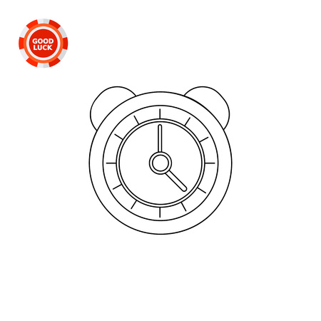 awaking: Classic round alarm clock with bells. Interface, morning, awaking. Alarm clock concept. Can be used for topics like technology, mechanics, marketing.
