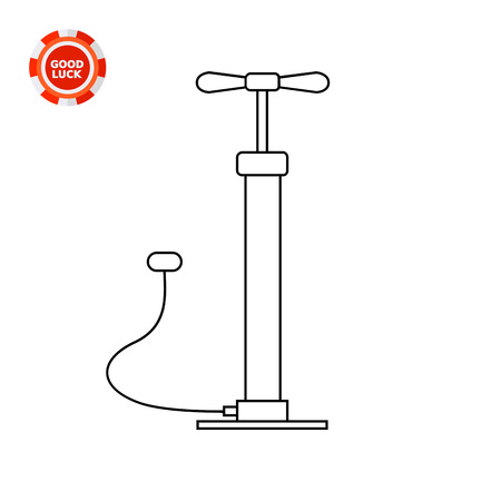 inflating: Stand air pump designed for inflating bicycle or car tires. Manual, pushing, pressure. Air pumping concept. Can be used for topics like tools, repair, equipment.